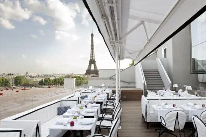 Vue sur Paris depuis le restaurant Maison Blanche